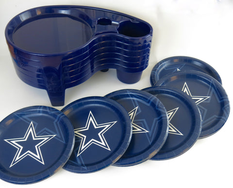 T.V. Trays/ tailgate tray. Dallas Cowboys paper plates.
