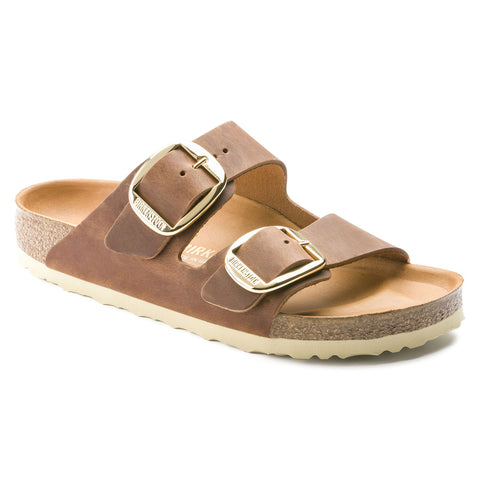 Birkenstock Arizona Big Buckle in Cognac & Black Oiled Leather