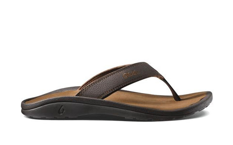 Olukai Ohana Mens Sandal in Dark Java/Ray, Black, & Dark Wood