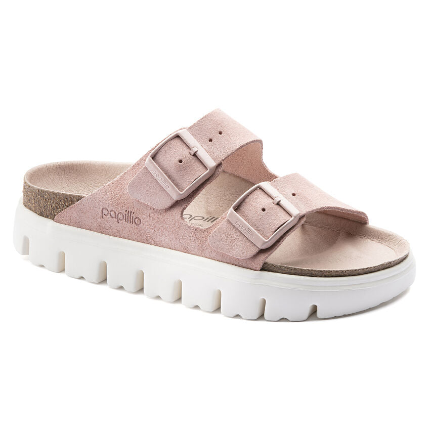 Birkenstock Arizona Platform Suede Leather Slide in  Soft Pink & Taupe