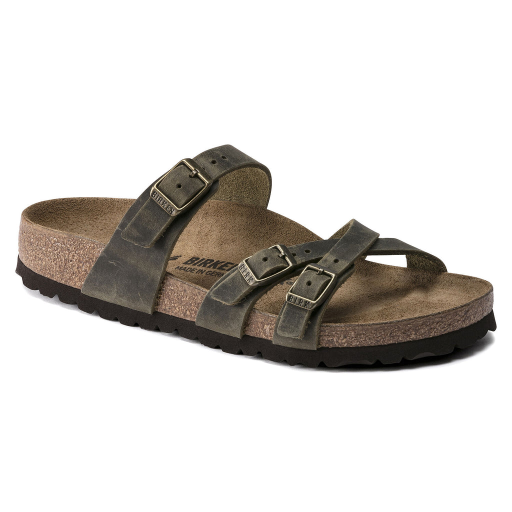 Birkenstock Franca in Tobacco Brown & Jade Oiled Leather in Narrows