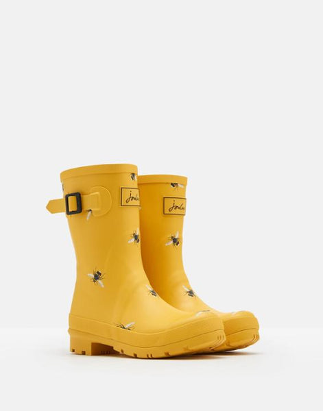 Joules Molly Bee Mid Height Rain Boot in Yellow & Black