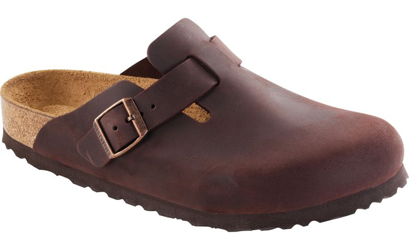 Birkenstock Boston Soft Foot Bed in Taupe & Habana Oil Leather