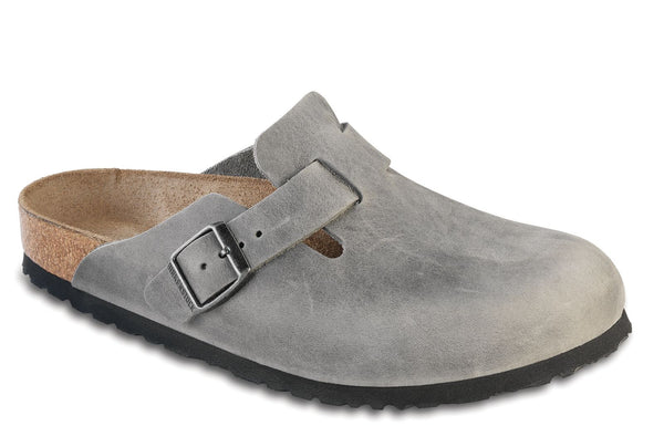 Birkenstock Boston Soft Foot Bed in Iron, Taupe & Habana Oil Leather