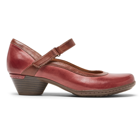Rockport Cobb Hill Laurel Mary Jane in Red & Black Leather