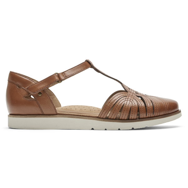 Rockport Cobb Hill Laci Fisherman Sandal in Tan & Black Available in Wides