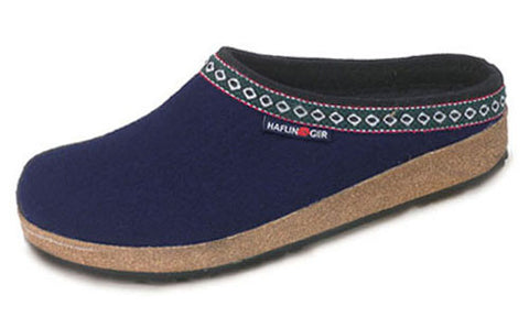 Haflinger Grizzly Hard Sole Wool Slipper in Navy