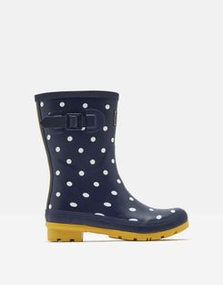 Joules Molly Navy Spots Mid Height Rain Boot