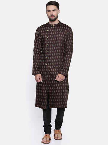 Brown Hand Block Print Kurta - MMK0145