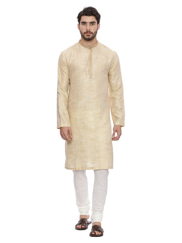 Beige Self weave Kurta Set - MMK0124
