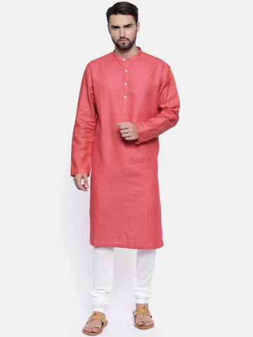Tomato Red Linen Kurta Set - MMK0142