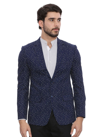 Stylish Blue Printed Blazer - MMJ014