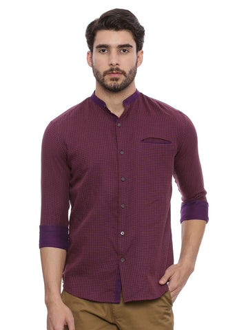 Purple Chex Cotton Shirt - MM0662