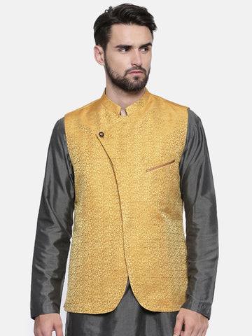 Mustard Yellow Silk Jacket - MMWC0122