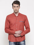 Linen Orange Classic Shirt