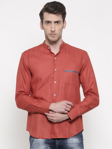 Linen Orange Classic Shirt - MM0670