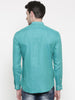 Aqua Blue Linen Mandarin Collar Shirt - MM0680