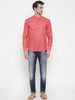 Tomato Red Linen Mandarin Collar Shirt - MM0681