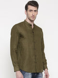 Dark Green Linen Shirt- MM0684