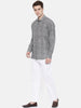 Grey Linen Printed Shirt - MM0706