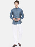 Blue Chex Linen Shirt - MM0708