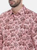 Pink Linen Printed Retro Party Shirt - MM0709