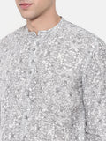Black White Printed Linen Shirt - MM0711