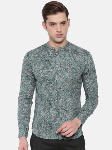 Green Linen Paisly Printed Shirt - MM0712