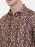 Printed Brown Linen Shirt - MM0729