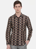 Printed Retro Brown Shirt - MM0730