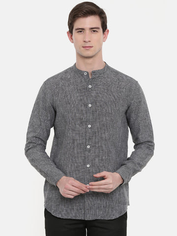 Classic Black Grey Linen Shirt - MM0733