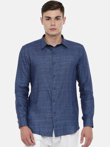 Denim Blue Linen Shirt - MM0760