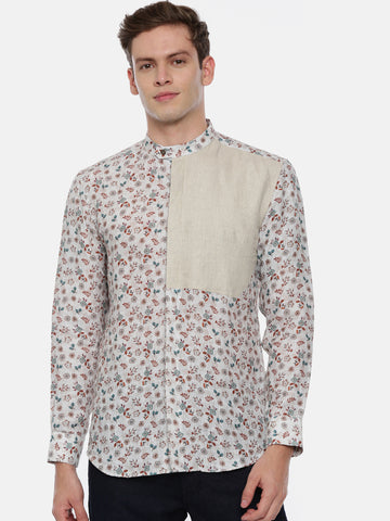 Beige Printed Linen Shirt - MM0775