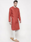 Orange Linen Kurta Set - MMK0138