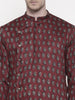 Cotton Red Block Printed Kurta Set - MMK0146