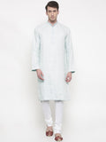 White Blue Linen Jaquard Kurta Set