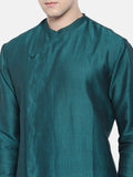 Linen/Silk Aqua Green Kurta Set - MMK0164