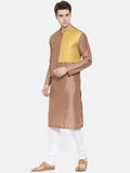 Brown Yellow Structured Kurta Set - MMK0182