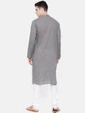 Grey Slub Cotton Kurta Set - MMK0184