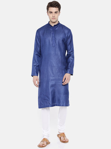 Blue Silk Dobby Kurta Set - MMK0188