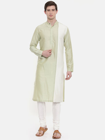 Green Ivory Silk Blend Kurta Set - MMK0194
