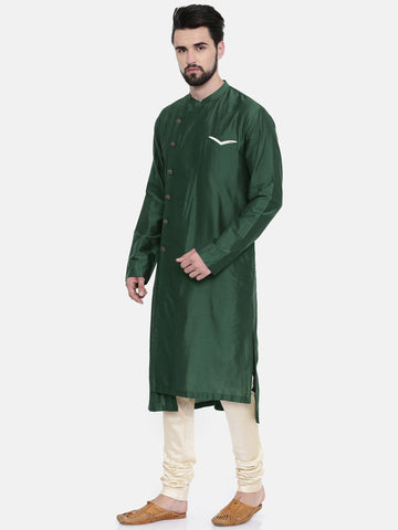 Bottle Green Silk Blend Kurta Set  - MMK0200