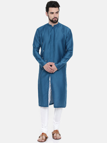 Blue Cotton Satin Hand Embroidery Kurta  - MMK0203