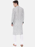 Black and White Geometric Printed Linen Kurta - MMK0206