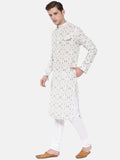 Green and White Geometric Printed Linen Kurta - MMK0207