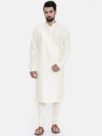 Silk Blend Jaquard Wrap up Cream Kurta  - MMK0218