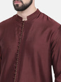 Chocolate Brown Silk Cotton Kurta Set  - MMK0226