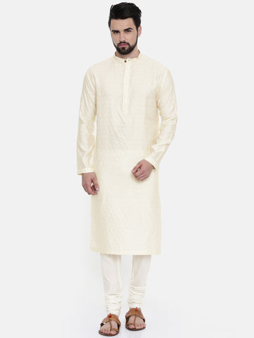 Cream Cotton Silk Jaquard Kurta Set - MMK0228