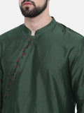 Bottle Green Hand Embroidered Kurta Set - MMK0229