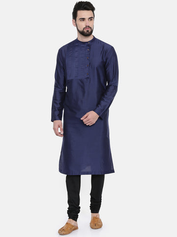 Blue Cotton Silk Pintuck Kurta Set - MMK0235